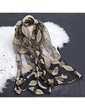 Corte de seda bufanda floral femenino las mujeres mantón ,caqui