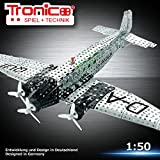 Tronico Metallbaukasten, Flugzeug, Junkers JU 52, 908 Teile, 1:50, batteriebetrieben, Propeller drehen sich, 4-farbig bebilderte Aufbauanleitung, inklusive Werkzeug, Profi Serie, ab 12 Jahren, rcee