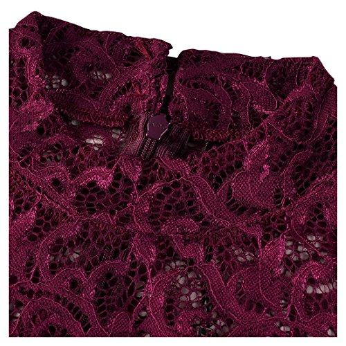 Miusol Femmes Bodycon Pleine Dentelle Vintage A Manche Longue Robe de Cocktail Violet