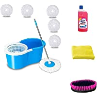 Generic 360° Spin Microfiber Mop Bucket with 5 Refill with Wheel to Easy Moving (Medium, Blue)