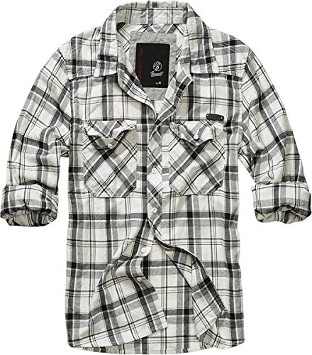 Brandit Mens Shirt Checkshirt Fred black offwhite