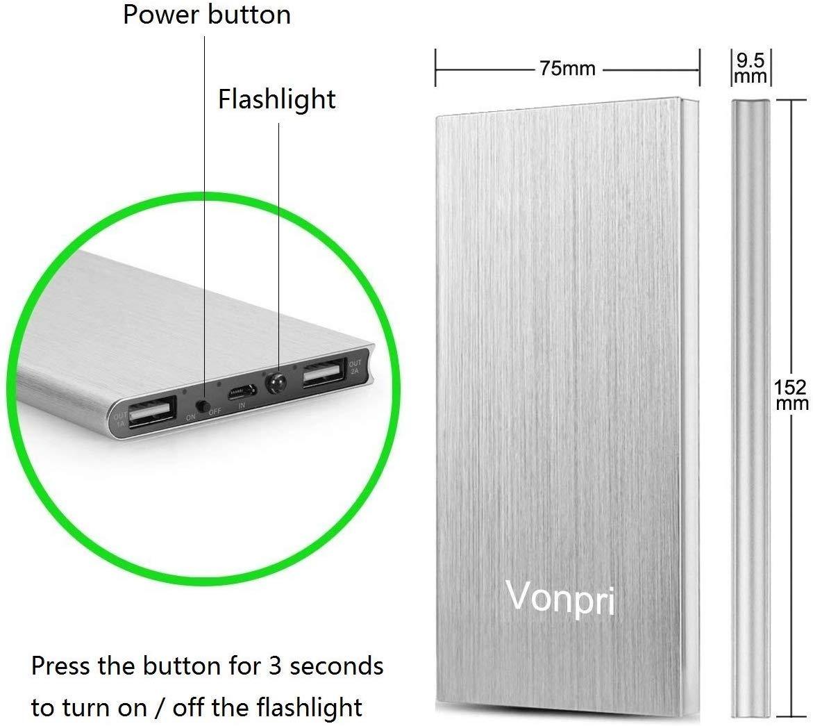 Vonpri 10000mah Caricabatterie Portatile Power Bank Batteria Esterna per iPhone7 iPad, Samsung Smartphones e Tablets… 2 spesavip