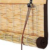 ZEMIN Bambus Rollo Bambusrollo Innen/Außen Installieren Anpassbar Schatten Wasserdicht Handhebend, 3 Farben, 22 Größen (Farbe : #1, größe : 150x220CM)