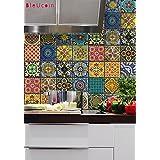 Bleucoin México Talavera Azulejo Pegatina para cocina y baño Backsplash Azulejo, Escalera Riser Peel & Stick Tile Decal, 22 diseños, Paquete de 44 (10cm x 10cm (pack of 44))