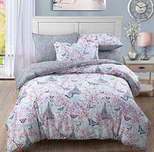 Blossom Paris Polycotton Quilt Bettbezug Bettwäsche-Set mit Kissenbezügen von weißlinge., multi, Einzelbett (Blossom Bettwäsche-set)