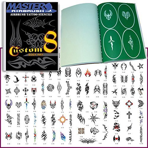unique-airbrush-stencils-100-temporary-tattoos-designs-design-book-8-profession-popular-hot-stylish-