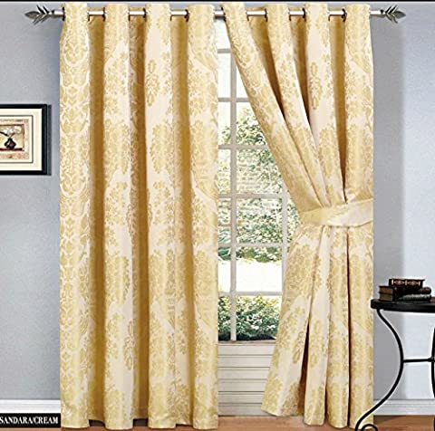 Ring Top Curtains Jacquard Fully Lined Eyelet Tape Pair Curtain + 2 Free Tie backs (2 x ( 46