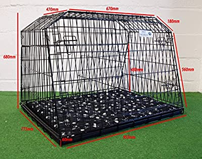 "38"" SLOPING CAR DOG CAGE ESTATE & 4x4 CAGES BOOT TRAVEL CRATE PUPPY GUARD est38l"