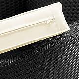 Deuba® Poly Rattan Sitzgruppe 8+1 Schwarz | 8 stapelbare Stühle | wetterfestes Polyrattan - 5