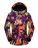 Femmes Encapuchonné Softshell De plein air Imperméable Camouflage Veste de Ski Randonnée Manteau Orange L