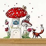 ilka parey wandtattoo-welt® Elfentür Feentür Wichteltür mit Wandtattoo Aufkleber Sticker Fliegenpilz mit Waschbär Fuchs und Punkten e07 - ausgewählte Farbe der Holztür: *rosa*