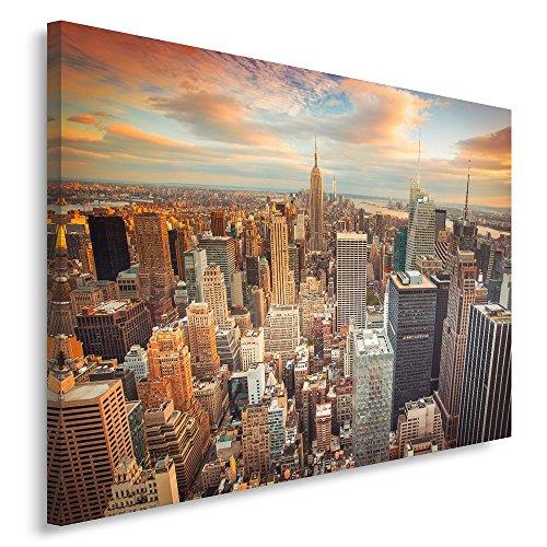 Feeby Frames, Tableau seul panneau , Tableau imprimé xxl, Tableau imprimé sur toile, Tableau deco, Canvas 50x100 cm, NEW YORK, COUCHER DE SOLEIL, ORANGE, BLEU, BLANC