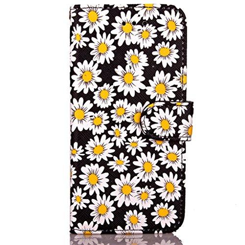 """Trumpshop Smartphone Case Coque Housse Etui de Protection pour Apple iPhone 7 Plus 5.5"""" (Série chrysanthème) + Vert + Ultra Mince Smarphonetcoque Portefeuille PU Cuir Avec Fonction Support Anti-Choc A Noir"""