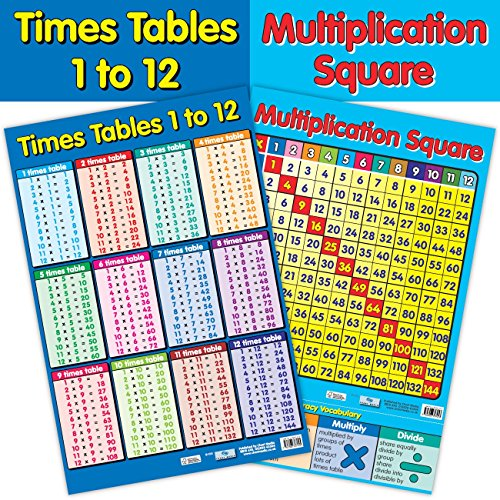 Educational 2-in-1-Multiplikation Quadratisch/Times Tables 1 bis 12 Numeracy Poster/Wall Chart – mit Perforationen – 60 cm x 40 cm