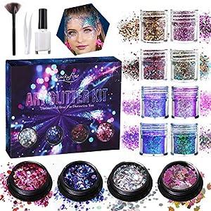 Make Up Glitzer, Luckyfine Glitzer Sequin Chunky Glitter für Gesicht, Nägel und Körper, Nail Pulver Pailletten Music Festival Masquerade Party usw.