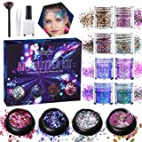 Kit polvere glitterata Luckyfine 12 scatole, glitter per viso, corpo, occhi, capelli, unghie e festival, tatuaggi temporanei - glitter spesso 8x10ml, glitter laser 3x5ml, glitter unicorno 1x5ml
