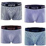 JINSHI 4er Pack NahtloserBoxer Short Cool Unterwäsche Sexy Boxer Enganliegend Underwear Schottenkaro Größe XL
