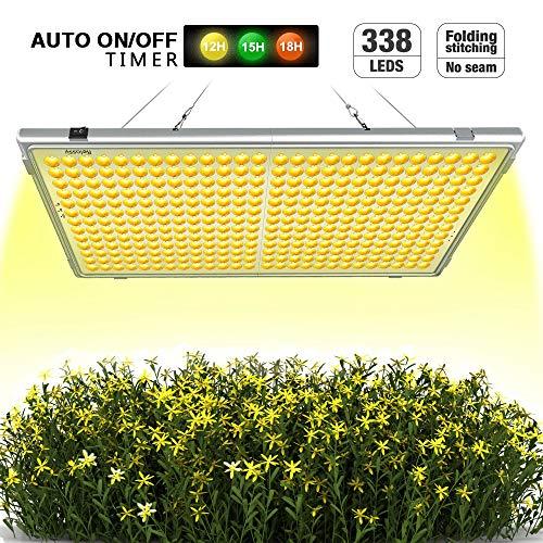 Relassy Pflanzenlampe Vollspektrums LED 300W Lichtleistung Automatische An/Aus mit 338 LEDs, 12/15/18/24std Timing-Funktion, 65W Verbrauch, Klappbare Pflanzenlicht für Zimmerpflanzen (F-300)