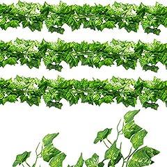 Idea Regalo - ShineCozy falso pianta artificiale edera-12confezione da 25,6m ghirlanda finta edera appeso vite fogliame verde lascia pianta esterno parete decorazione per festa di nozze