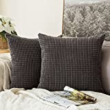 Set of 2 Miulee Corduroy Soft Pellets Solid Decorative Square Throw Pillow Covers Cushion Case For Sofa Bedroom Car 18 * 18 Inch (45 x 45 cm, grey, 45 x 45 cm)