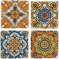 S/4Unique Vintage stile marocchino Piastrelle in ceramica da tavolo bevande Mats sottobicchieri set