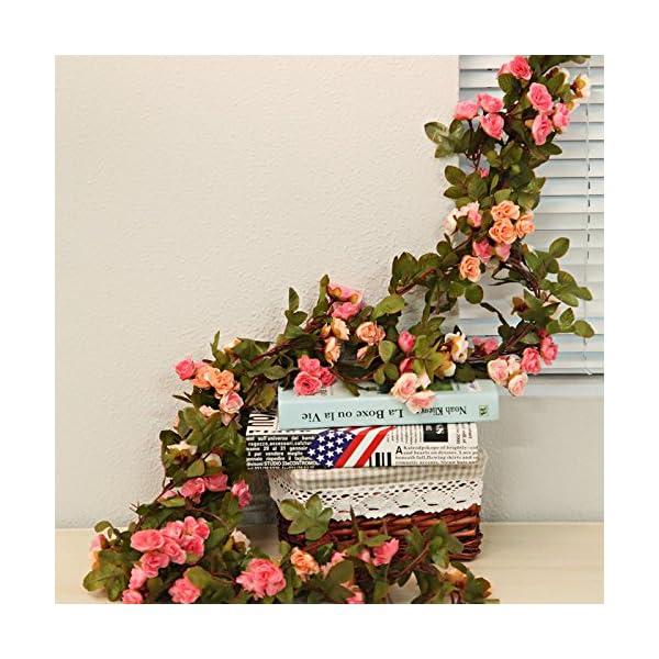 Guirnalda de flores artificiales de Li Hua Cat, 60 rosas, flores de decoración para bodas, casas, fiestas y jardines, 2…
