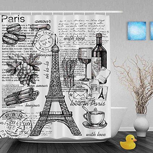 Luxurious shower Hand gezeichnet von Frankreich Bad Duschvorhang Eiffelturm Dekor Duschvorhang wasserdichtes Polyestergewebe mit Haken, 72 x 80 Zoll (Badezimmer Duschvorhänge Bronze)