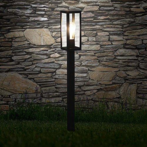 s.LUCE Poller Aussen-Standleuchte Chalet 80cm Schwarz Pollerlampe Stehleuchte (Aus Stehleuchte Metall Lackiertem)