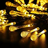 Solar Outdoor String Lights, TurnRaise 15.7ft 20 LEDs Water Drop Solar String Fairy Waterproof Lights Christmas Lights Solar Powered String lights for Garden, Patio, Yard, Home, Christmas Tree, Parties - Warm White
