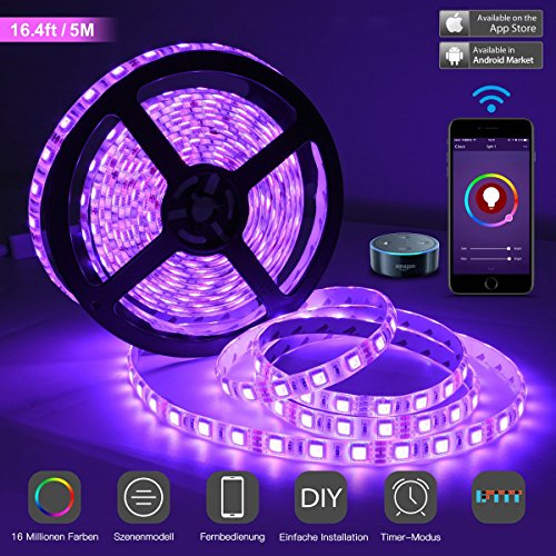 (LED Streifen Wlan Light Strip mit app-gesteuert Kompatibel mit Alexa Google Home 5M 300LEDs 5050 RGB Dimmbar Intelligente Seilstreifen EU Stromkabel Wasserdicht IP65 by Cotify (16.4ft/5M))