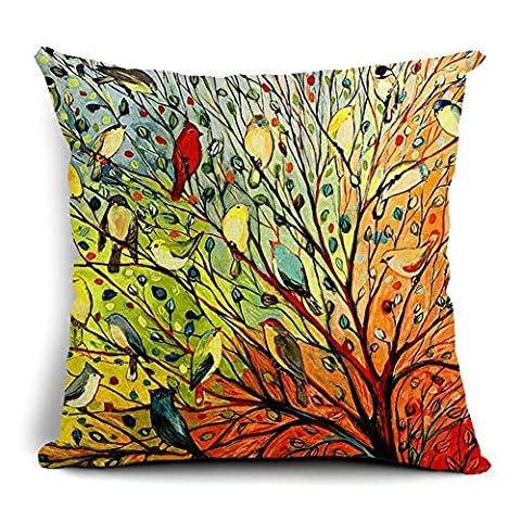Poens Dream Housse de Coussin, Abstract Trees and Birds Cotton Linen Decorative Throw Pillow Case Cushion Cover, 17.7 x 17.7inches