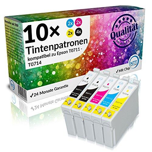 N.T.T.® 10 Stück XL Druckerpatronen, Sparset für Epson T0711 T0712 T0713 T0714...