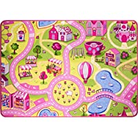 Funfair Pink Colourful Kids Girls Town City Roads Childrens Floor Play Area Rug Mat