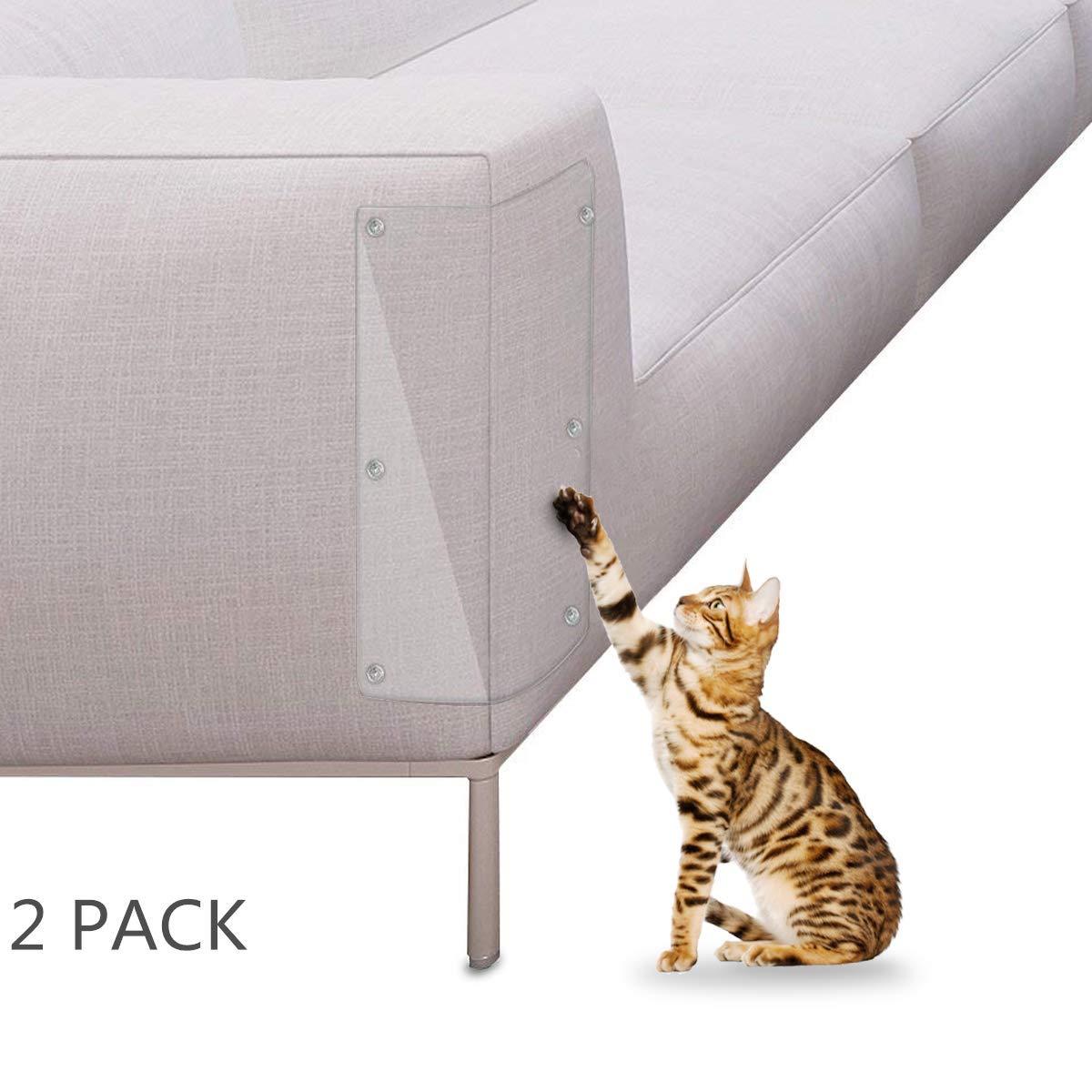 Petyoung Protector de Arañazos para Gatos tapizado para Muebles, 2 Protectores de Vinilo Transparentes, Amor a Tus Muebles y a tu Gato.