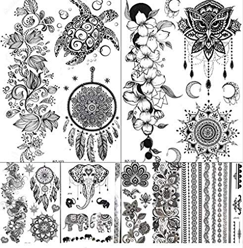 renliyong Ruofengcp Dream Catcher Indian Rattan Black Mandala Henna Tattoo Sticker Female Girl Owl Tattoo Temporary Body Arm Art Tattoo Sticker Without Frame 40*50cm