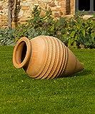 Kreta-Keramik große frostfeste Amphore aus echtem Terracotta, 70 cm, liegend oder stehend für den Garten Teich Terrasse, Vitex