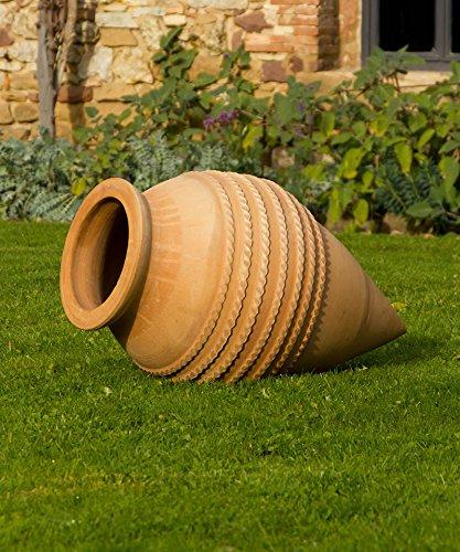 Kreta-Keramik, große winterfeste Terracotta Amphore Spitzamphore Keramik 80 cm liegend, tolle Deko Garten Teich, Vitex