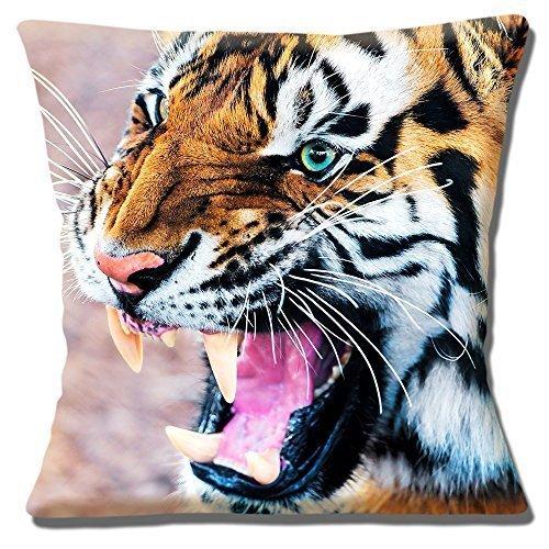 Foto-druckkopf (Wildtiere Tiger Entblößt Zähne Geschlossen Foto Druckkopf - 40.6cm (40cm) Kissenbezug)