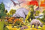 1art1 58951 Dinosaurier - Collage, Dino-Welt Selbstklebende Fototapete Poster-Tapete 180 x 120 cm