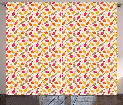 stikaler Gardine, Retro-Stil Silhouetten, Schlafzimmer Kräuselband Vorhang mit Schlaufen und Haken, 280 x 260 cm, Mehrfarbig ()