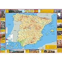 Mapa de España - Turista - Ilustrado con imágenes de puntos clave de interés - Mostrando grandes ciudades y carreteras - Ideal para la escuela o el hogar - Papel laminado - 59,4 x 84,1 cm (A1)