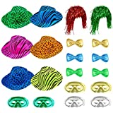 Auihiay 20 Pieces Photo Booth Hats Neon Party Funny Hats Kit Include Plastic Animal Print Hats, Bow Ties, Metallic Half Mask and Foil Tinsel Wig for Kids Adults Photobooth Party Weddings