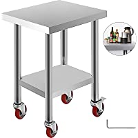 VEVOR Tavolo da Lavoro in Acciaio Inox Piano di Lavoro per Cucina 61x45x86cm Piano di Lavoro Professionale a 4 Ruote per La Preparazione di Alimenti