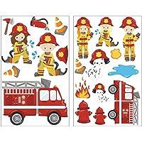 20-teiliges Feuerwehr im Einsatz Wandtattoo Set Kinderzimmer Babyzimmer in 5 Größen (2x16x26cm mehrfarbig)