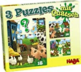 Haba 300186 - 3 Puzzles mit Quatsch - Bauernhof