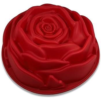 FantasyDay® Premium Silikon Backform/Muffinform für Muffins, Cupcakes, Kuchen, Pudding, Eiswürfel und Gelee - Rose Form Brotbackform für eindrucksvolle Kreationen, hochwertige Silikon-Kuchenform