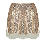 SDCXV Frauen Mode Sexy Damen Rock Damen Rose Gold Pailletten Sparkle Mini Rock Party Club Hohe Taille Eine Linie Röcke Kleidung für Mädchen (Farbe : As Shown, Größe : Einheitsgröße)
