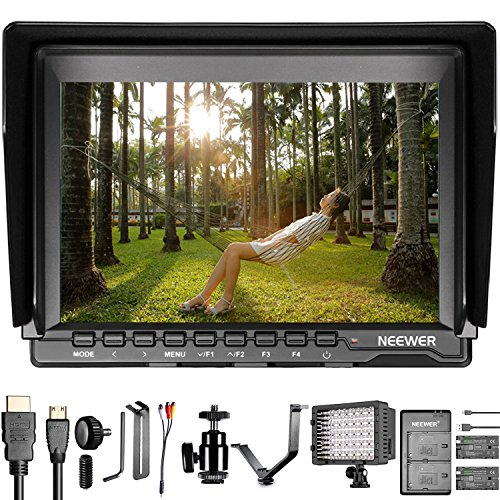 Neewer LED-Monitor für Kameras: Feldmonitor mit 17,8 cm (7 Zoll) IPS-Display, 1280 x 800-Auflösung, dimmbarer LED-Strahler, Ersatzakku mit Ladegerät/Halterung