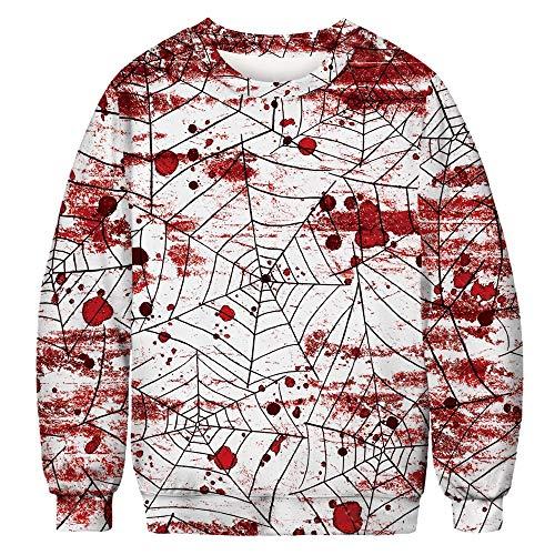 WANLN Gezeiten Kleidung Herbst 2019 Neue Pullover Frauen 3D Blutstropfen Halloween Digitaldruck Paare Kopf Sport Langarm-Shirt,Weiß,XXL (Für Halloween-kostüme Für Paare 2019)