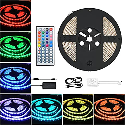 COSANSYS LED Strip RGB LED Streifen Set 5M SMD 5050 300LEDs IP65 Wasserdicht Lichtleisten Farbwechsel LED Strip Lichtband mit 44 Tasten IR Fernbedienung 12V 5A